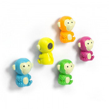 Monkeys in 5 different colours. From Trendform.