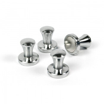 Stylish magnets in metal and neodymium 4-pack