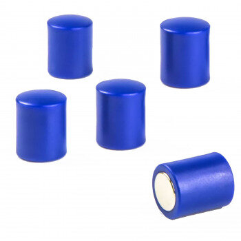 Blue strong magnets with plastic cap 14x18 mm. 5-pack