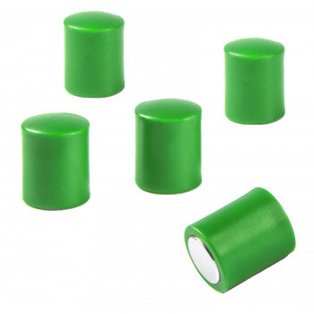 Green rod magnets 14x18 mm. for glass boards with plastic cap - prevents damage to colliding magnets