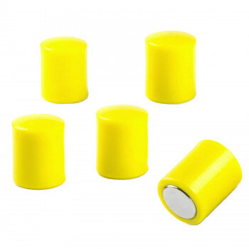 Yellow magnets made of neodymium with plastic cap 5-pack