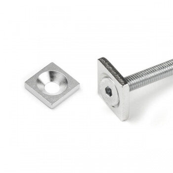 Metal plate for screwing, size 15x15x3 mm. Made of magnetic metal.