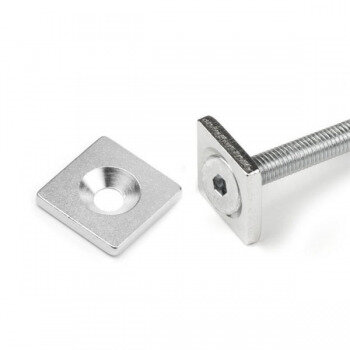Square metal plate 20x20x3 mm. with screw hole M3