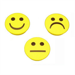 Powerful smiley magnet 3 pack yellow, round.